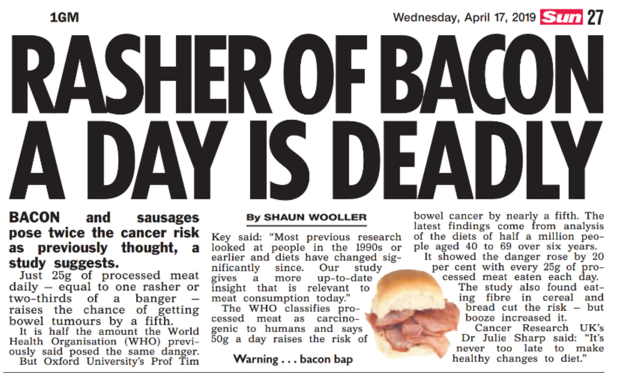 Rasher of bacon a day is deadly